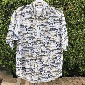 Columbia Fish Print Short Sleeve Shirt Size M